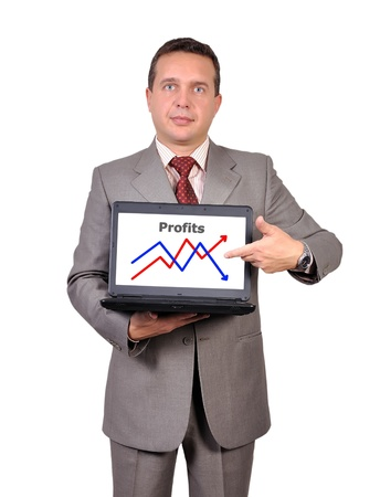businessman with notebook and growth chart Stock Photo - 16472579