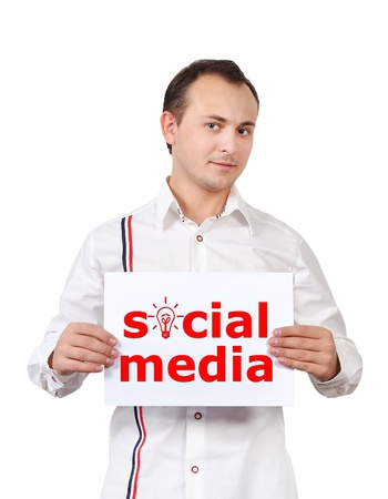 businessman holding poster with social media Stock Photo - 16472572