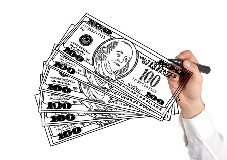 hand drawing dollars on white background Stock Photo - 16484563