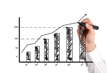 hand drawing graph showing profit growth Фото со стока