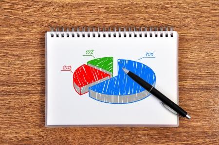 pie scheme growth profits in notebook Stock Photo - 16538735