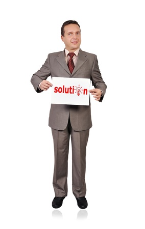 businessman holding poster with solution Stock Photo - 16521280
