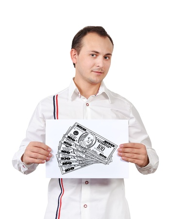 man holding  placard with drawing dollars Stock Photo - 16521287