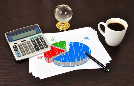 Note pie chart on table businessman photo