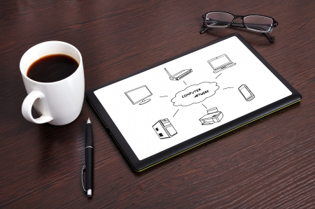 Workplace with computer network diagram on touchpad Stock Photo - 16538724