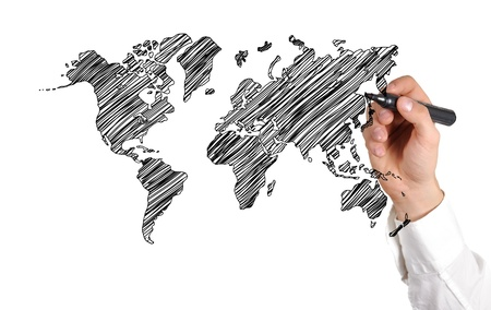 hand drawing world map on white background photo