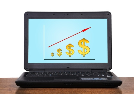 laptop with  scheme profits dollar on table photo