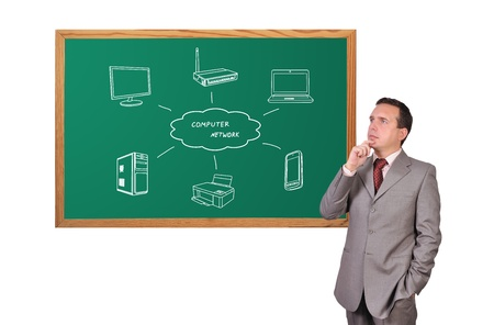businessman dreaming and computer network on blackboard photo