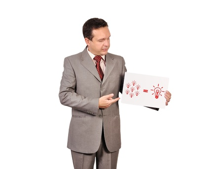businessman holding a placard with business formula Stock Photo - 16712494