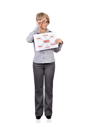 Woman holding a placard graph seo Stock Photo - 16714444