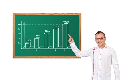 businessman pointing at growth chart on desk Stock Photo - 16712509