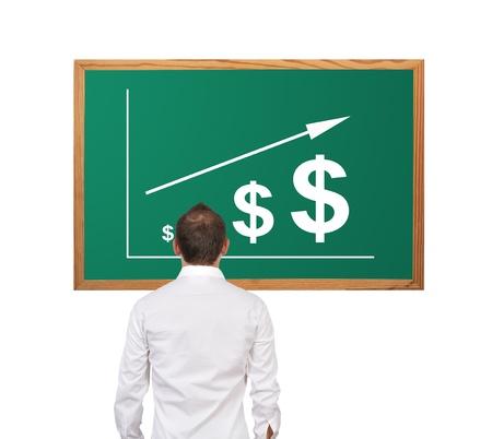 机の上のビジネスマンやスキームの成長ドル
