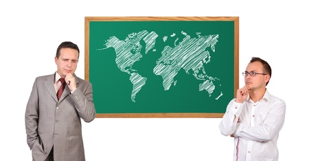 two businessman and world map on desk photo