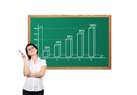 Businesswoman and graph showing profit growth Stock Photo - 16881800