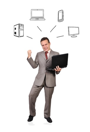 successful businessman with laptop and computer network concept photo