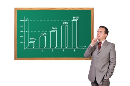 businessman looking at growth chart on desk Stock Photo - 16934815