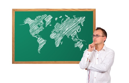 businessman and world map on desk Stock Photo - 16921498