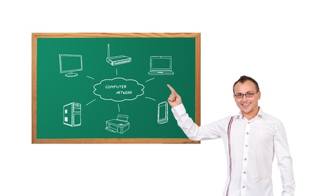 businessman pointing at computer network on desk photo