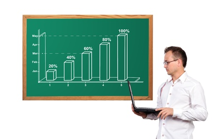 Businessman holding a laptop and chart on desk Stock Photo - 16921501