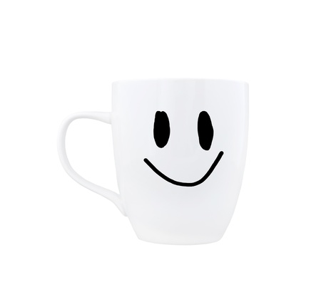 happy cup on a white background photo