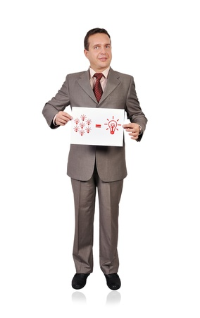 businessman holding a placard with business formula Stock Photo - 16972507
