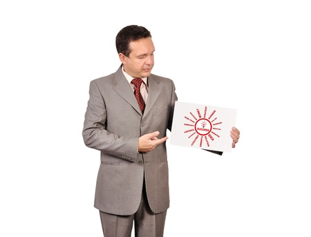 businessman holding poster with success Stock Photo - 16972509