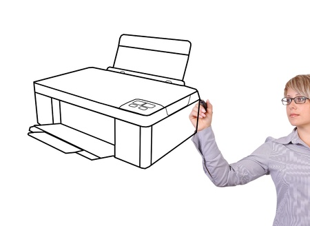printer drawing: woman drawing printer on a white background