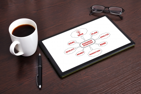 Workplace with business strategy on touchpad Stock Photo - 16985218