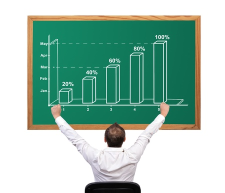 man and growth chart on desk Stock Photo - 16972519