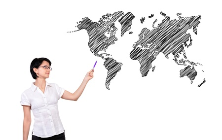 businesswoman pointing at wopld map Stock Photo - 17015205