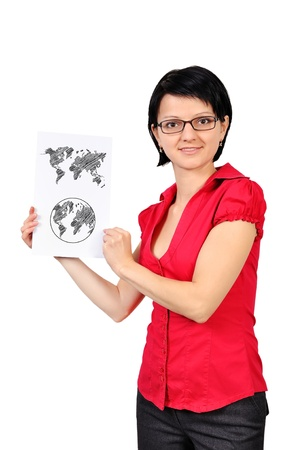 businesswoman holding poster with wopld map Stock Photo - 17015212