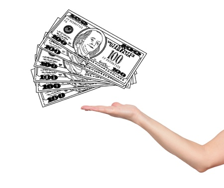 hand and  drawing dollars on white background photo