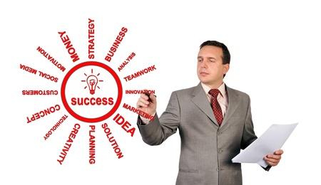 businessman drawing success scheme concept Stock Photo - 17015193
