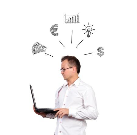 Businessman holding a laptop business concept Stock Photo - 17015400
