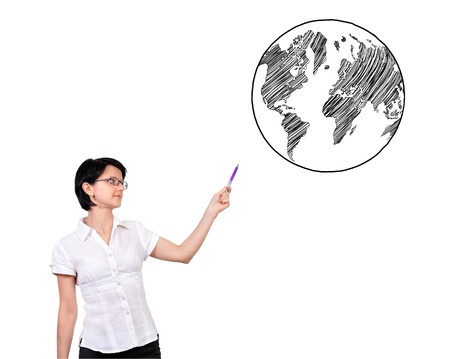 businesswoman pointing at earth on a white background Stock Photo - 17108223