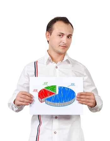 businessman holding poster with  chart of growth Stock Photo - 17093409