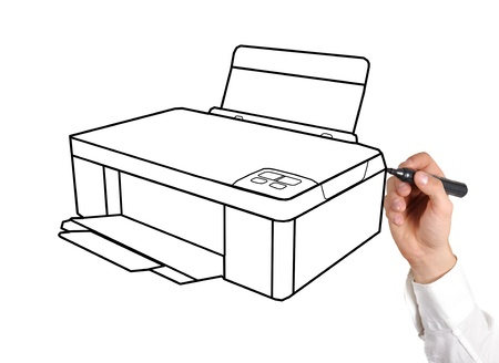 printer drawing: hand drawing printer on a white background Stock Photo