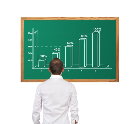 businessman looking at growth chart on desk Stock Photo - 17107425