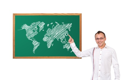 businessman point to world map on desk photo