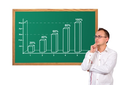 businessman and growth chart on desk Stock Photo - 17104929