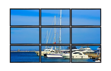 flat panels with yachts in port photo