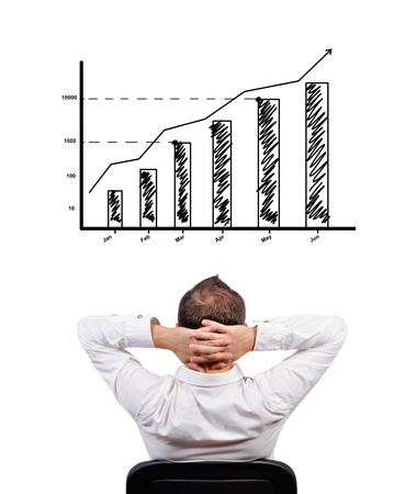pensive businessman looking at chart of profit photo