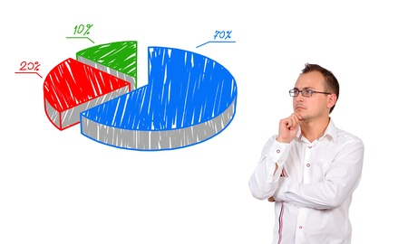 young businessman looking at pie chart of profit