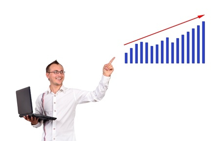 businessman with notebook point to growth chart photo