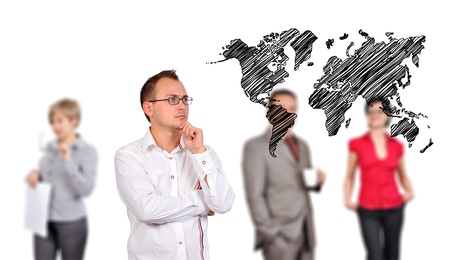 businessman looking to drawing world map and people on background Stock Photo - 17370704