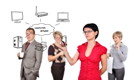 businesswoman drawing computer network and people on background photo
