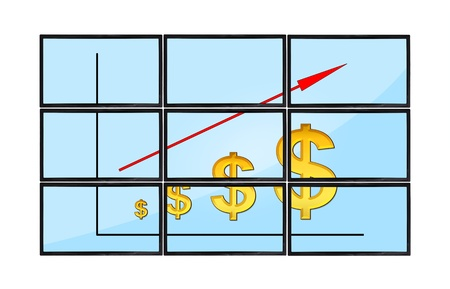 flat panels with dollars chart on screen photo