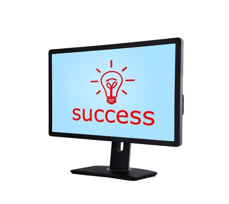 computer monitor with success scheme on a white background photo