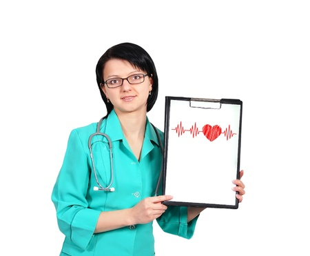 young female doctor and clipboard  with pulse Stock Photo - 17370697