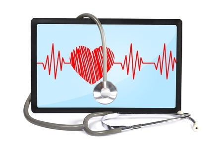 heartbeat on screen touchpad and stethoscope Stock Photo - 17381959